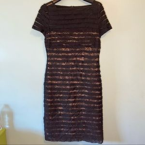 Adrianna Papell Black Tiered Lace Dress 10